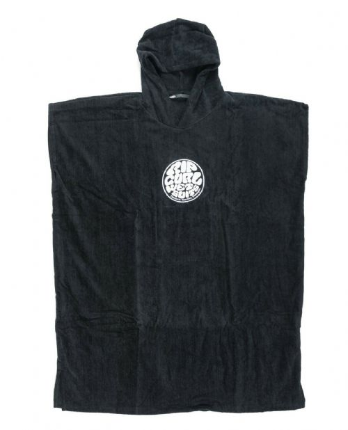 RIP CURL PONCHO TOWEL.CHANGE HOODY HOODED BLACK SURF BEACH CHANGING ROBE 9S 4/90